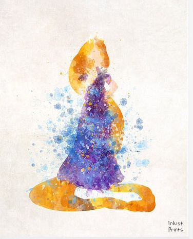 Rapunzel, Print, Art, Disney, Tangled, Watercolor, Type 1, Princess, Disney…