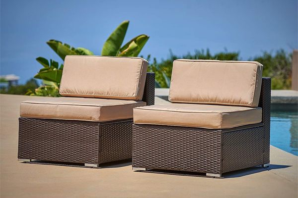 Patiocean Outdoor Sitting Sets Include 2 Pcs Brown Wicker Chairs