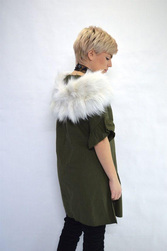 Real fox collar bridal fur shawl white fox fur stole. by BeFur