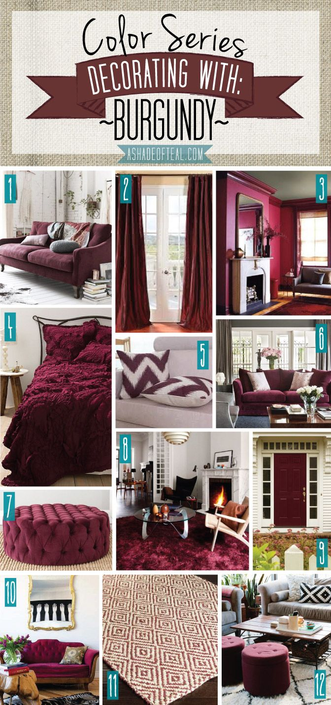 Color Series; Decorating with Burgundy. Burgundy, Marsala, Maroon home decor | A Shade Of Teal. Amo marsala.... Ambiente sofisticado e moderno... Cor que escolhi para decorar a minha sala... Breve casa nova