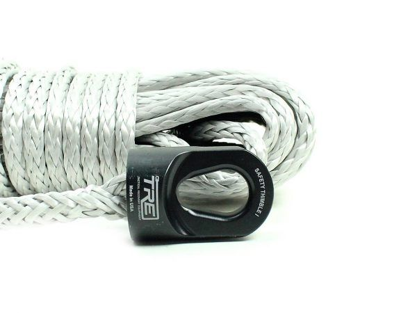 Black Synthetic Winch Rope Black Safety Thimble Ii Package 3 8 X 85ft Winch Rope Synthetic Winch Rope Stainless Steel Drum