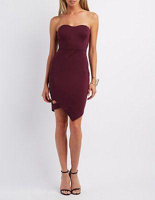 Strapless Asymmetrical Bodycon Dress #CharlotteLook