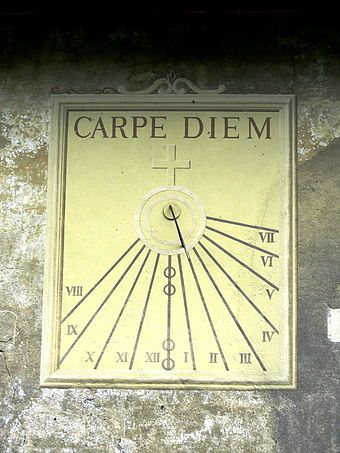 """A sundial inscribed """"Carpe diem"""" (translated as """"seize the day"""" or """"seize the present"""") - Wikipedia, the free encyclopedia"""