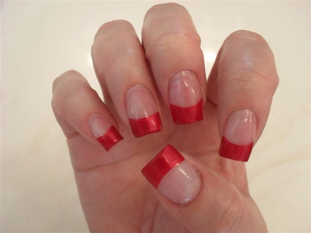 Red French Tip Nail Polish Design - I like the colored french tips. Very  modern - 8 Best Red Nails Images On Pinterest French Manicures, French