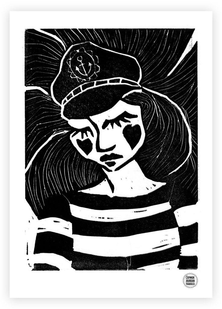 """Affiche/Poster """"Wait & Sea""""  Impression numérique Grammage papier : 300 gr/m2   Technique de l'original : Linogravure  Format A4 (21x29,7cm)  Les couleurs représentées - 16634331"""