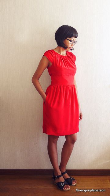 Red silk dress (Simplicity 2281) by verypurpleperson, via Flickr