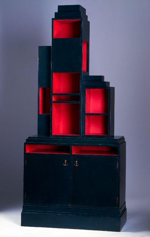 Skyscraper bookcase by Paul Theodore Frankl, ca. 1926. Red & black