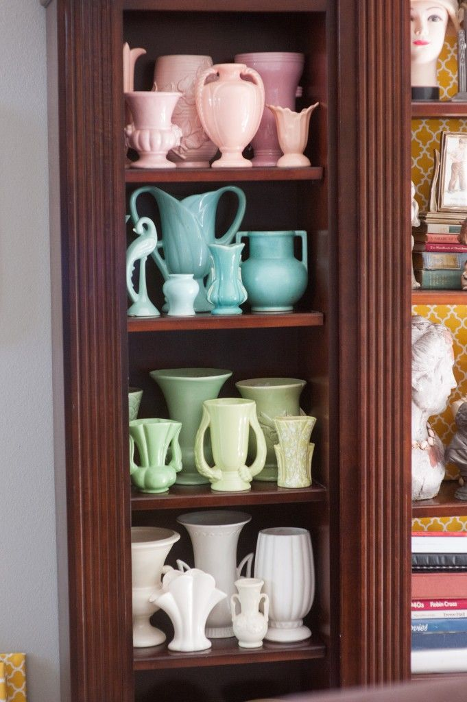 Vintage Pottery Vases and Planters arrange by color.  ~ Mary Walds Place - These are a Few of My Favorite Things.