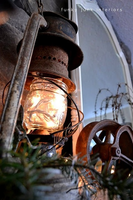 white mini lights sit inside a jam jar residing in a crusty old lantern: Decor, Holiday, Ideas, Christmas, Old Lanterns