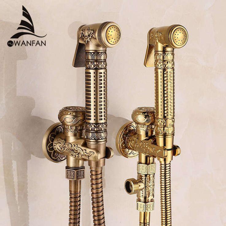 ! Modern Golden Brass Bathroom Bidet Faucet Exquisite Carved With Hand Sprayer Gun 8891 - ICON2 Luxury Designer Fixures  ! #Modern #Golden #Brass #Bathroom #Bidet #Faucet #Exquisite #Carved #With #Hand #Sprayer #Gun #8891