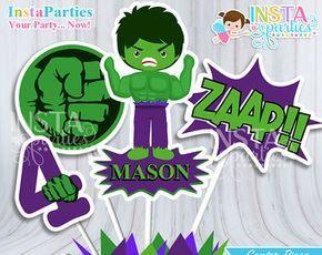 Centro de Mesa Hulk hombre verde, centro mesa superhéroes niño fiesta cumple, superheroe decoraciones Imprimible digital centros party