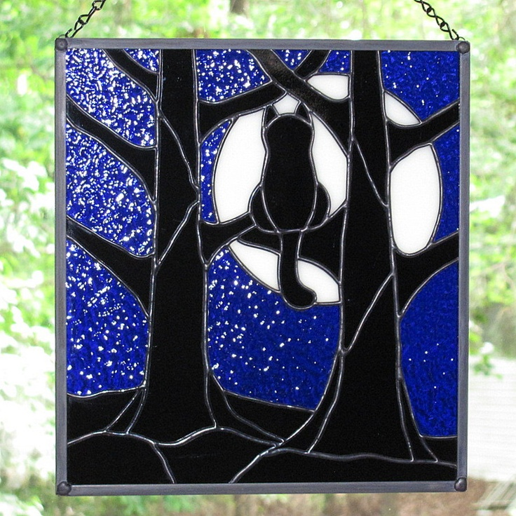 Stained Glass Black Cat Full Moon Hanging Panel