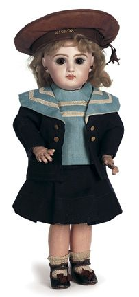 French Bisque Brown-eyed Bebe Jumeau with Original Mariner Costume