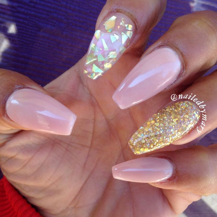 Nude gold flakes glitter cute simple coffin style nails
