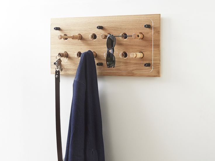 Moodboard 2X6 Oak - Magnetic Hanger System - Glasses - Keys - Shirt - Jacket