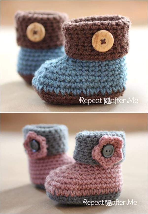 40+ Adorable and FREE Crochet Baby Booties Patterns --> Crochet Cuffed Baby Booties #crochet #pattern #baby #booties