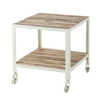 Tavolino da salotto bianco a rotelle in metallo L 45 cm - Mistral