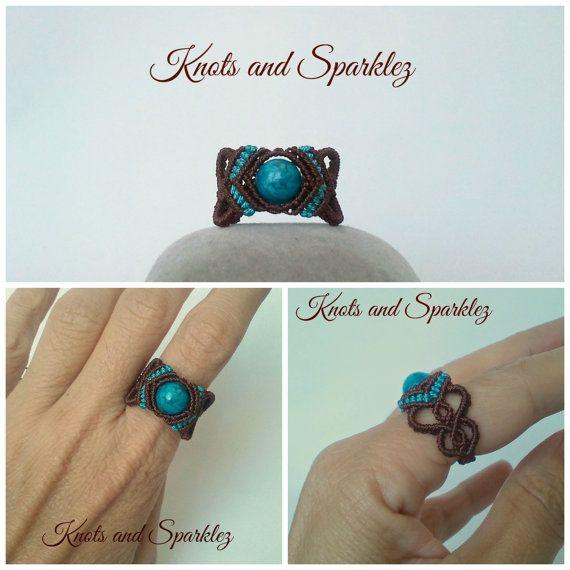 Blak Halloween anillo anillo de turquesa jaspe por KNOTSANDSPARKLEZ