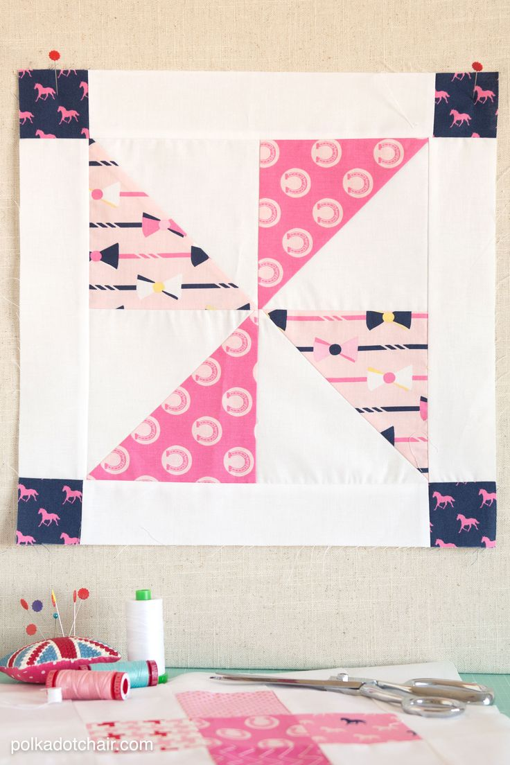 free pattern for a pinwheel quilt block on polkadotchair.com
