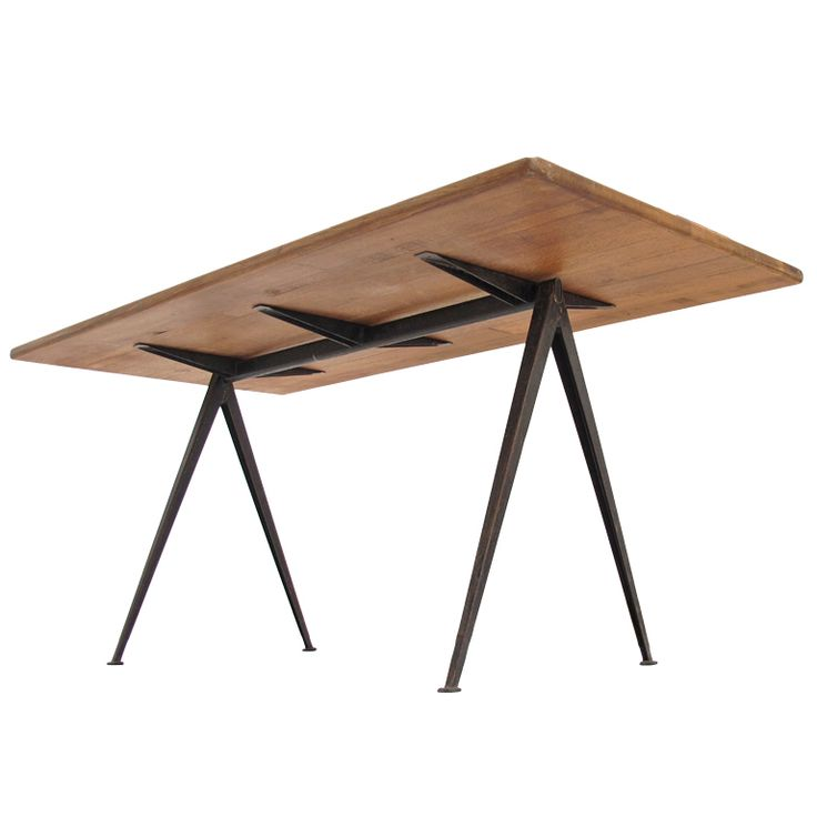 Wim Rietveld Rustic Oak Top ''pyramid'' Table Ahrend The Cirkel | From a unique collection of antique and modern dining room tables at https://www.1stdibs.com/furniture/tables/dining-room-tables/