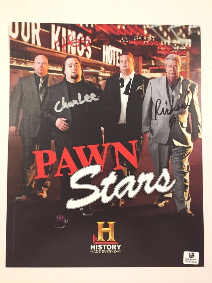 PAWN STARS SIGNED 8X10 CHUM LEE COREY HARRISON OLD MAN COA GA AUTOGRAPH CAST