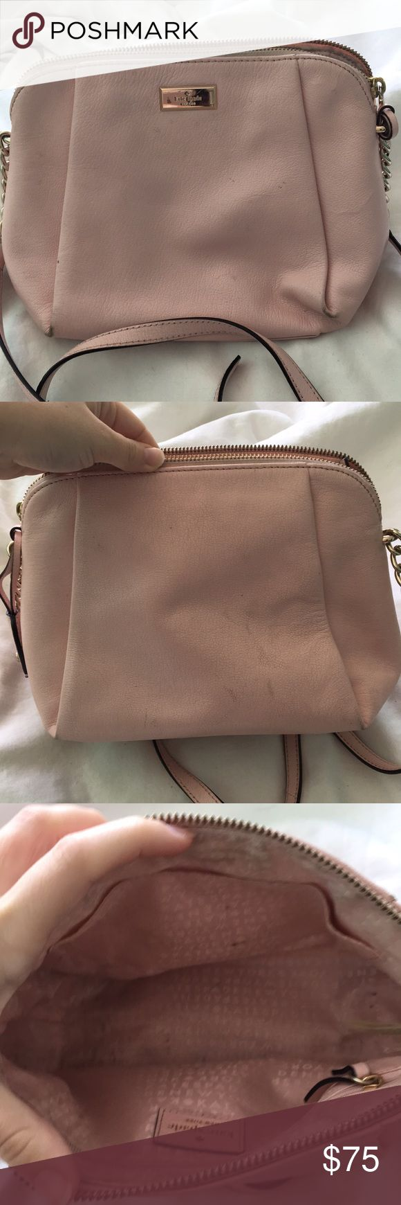 Kate Spade Pink Chain Crossbody Purse From Spring 2016 collection if I recall properly. Heavily used, been told it's easy to clean. All markings are shown in photo. kate spade Bags Crossbody Bags