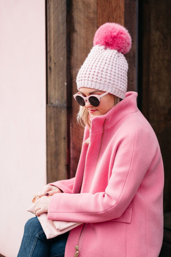 dab157f47ce13 Pink Pom Hat + Pink Coat + Blush Clutch