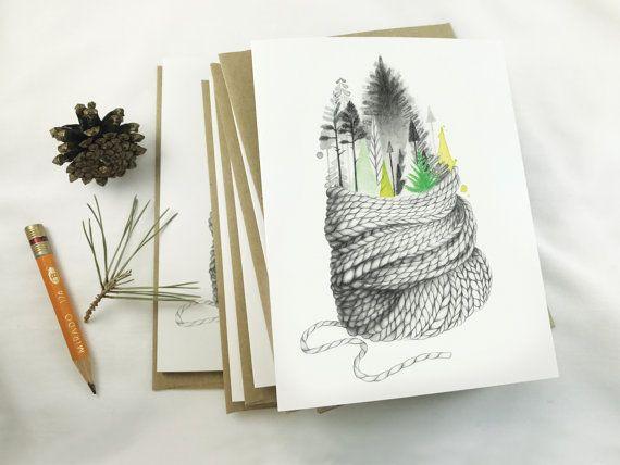 Carte de souhait | Carte de voeux | Carte de noël | Illustration Hivernale | Dessin de tricot | Carte réconfortante | aquarelle |crayon