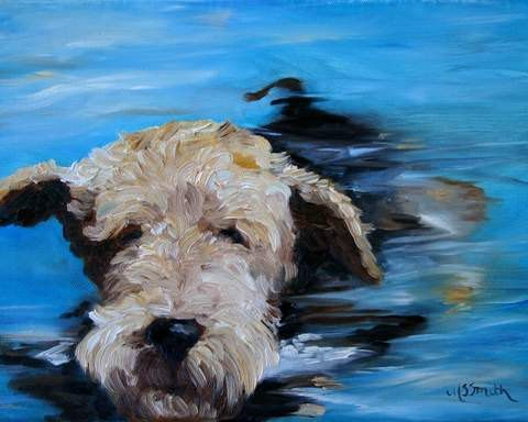 "Mary Sparrow Smith from Hanging the Moon – dog art, pets, portrait, paintings, gift ideas, home decor. Airedale Terrier. ""Swim"""
