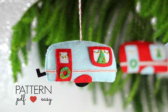 Felt Christmas Ornament Pattern  Christmas Decoration Sewing Retro Caravan Trailer Camper Vintage DIY Christmas Ornament Quirky Cute Craft Fair