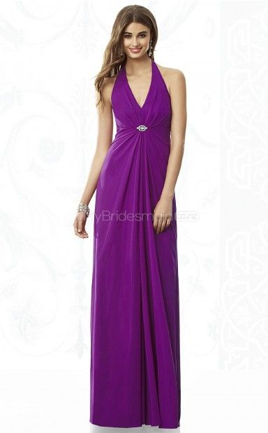Regency Chiffon Sheath V-neck Floor-length Bridesmaid Dresses(NZBD06853)