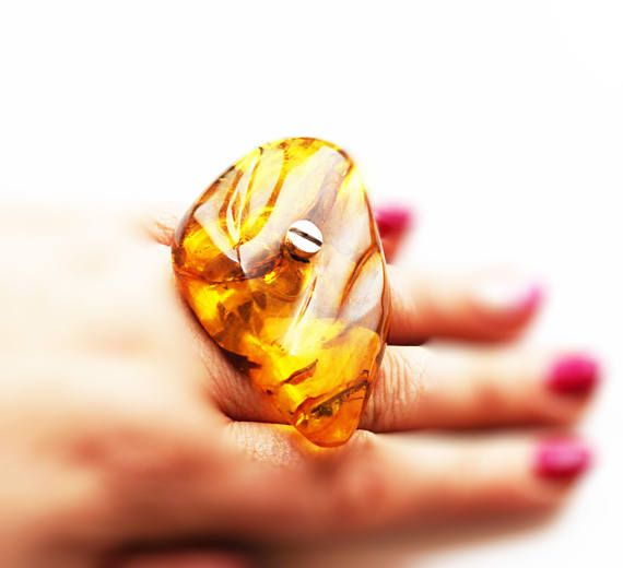 E.Salwierz Design Huge Baltic Amber Ring 39g