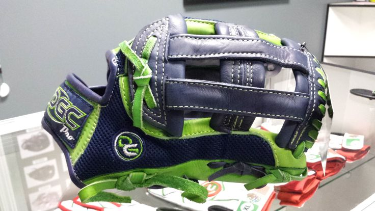Custom Softball Glove H WEB Design navy blue with lime green #custombaseballglove #customsoftballglove