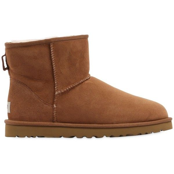 Ugg Australia Men Mini Classic Shearling Boots ($285) ❤ liked on Polyvore featuring men's fashion, men's shoes, men's boots, brown, mens brown boots, mens brown shoes, ugg mens shoes, ugg mens boots and mens shearling shoes