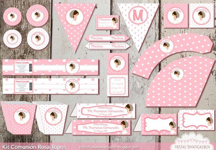 Cuadro más invitación, kit comunión rosa topos