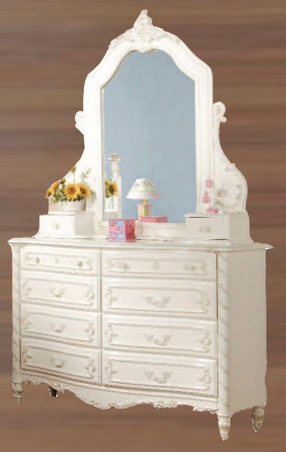 Pearl Elegant White Wood Dresser And Mirror