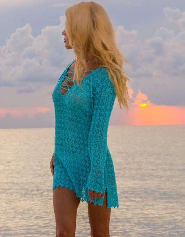 Handmade Crochet Cover-up Available in Blue or White