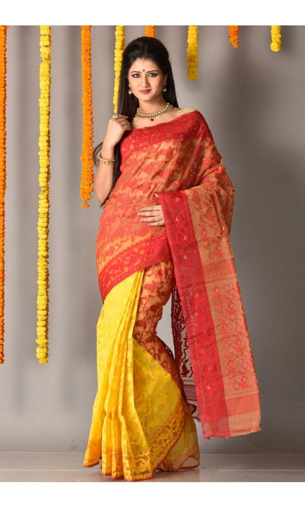 Red - Yellow - Dhakai Saree - Colors Of Bengal - adi3781 | Adimohinimohankanjilal
