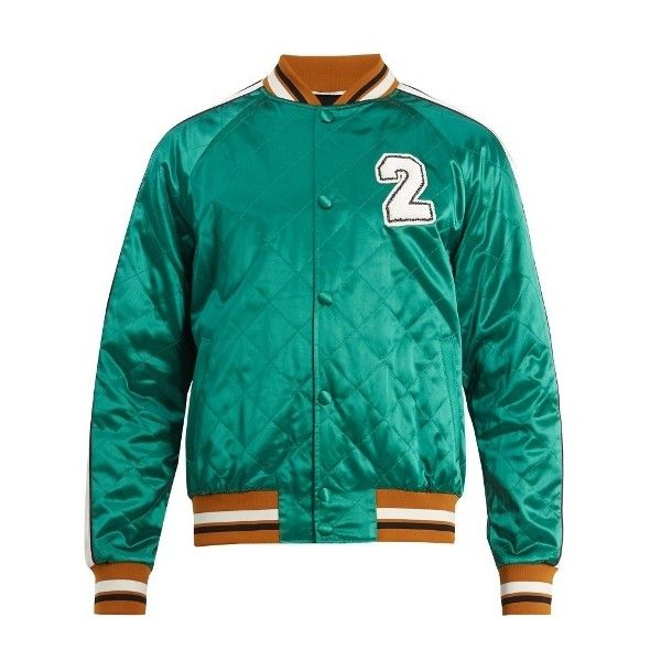 Valentino Logo-appliqué quilted satin bomber jacket (92,365 THB) ❤ liked on Polyvore featuring men's fashion, men's clothing, men's outerwear, men's jackets, green, mens satin jacket, mens quilted bomber jacket, mens quilted jacket, mens green quilted jacket and mens satin bomber jacket