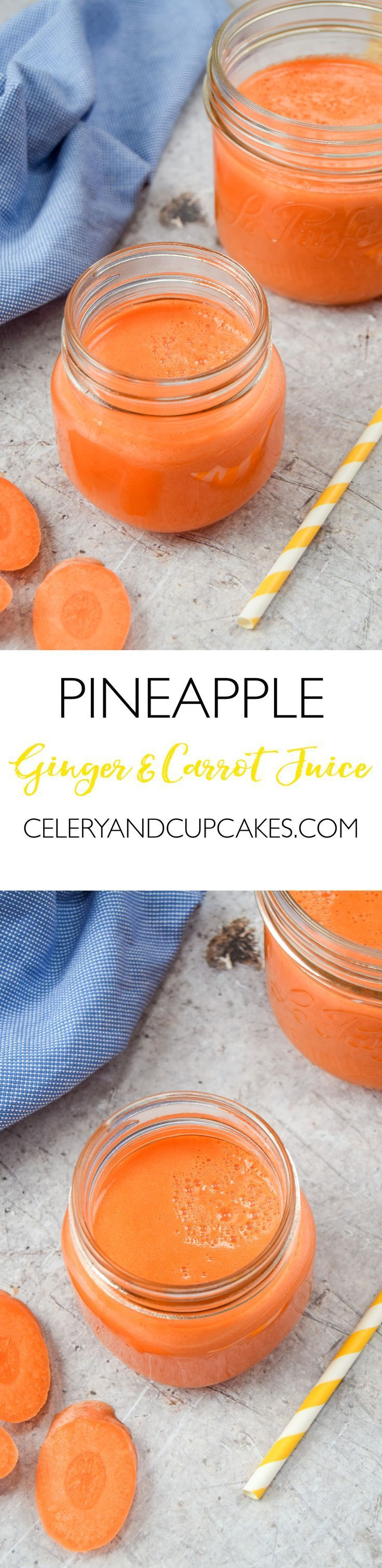 Pineapple, Ginger & Carrot Juice - a refreshing and zingy juice recipe that makes a perfect healthy afternoon pick me up!
