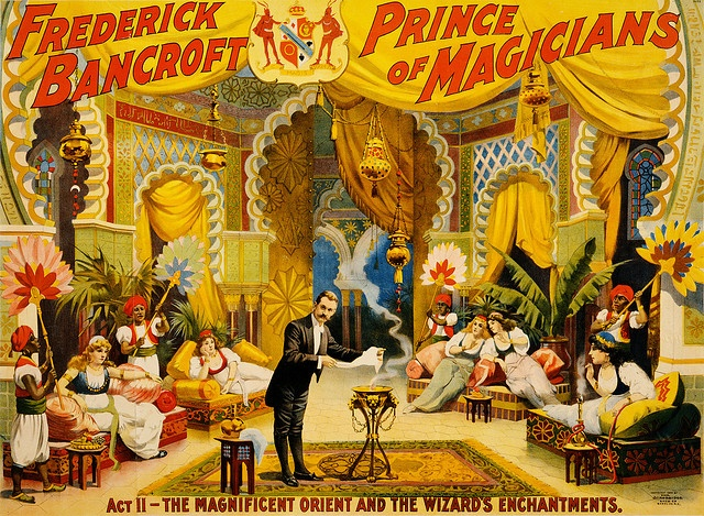 Frederick Bancroft, prince of magicians: the wizard's enchantments, performing arts poster, ca. 1895