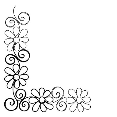 Gerber Daisy Corner - Digital - Quilts Complete - Continuous Line ... - ClipArt…