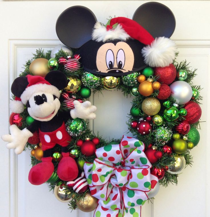 Mickey Mouse Christmas Wreath, Best Selling Wreath, Custom Listing Order by SparkleForYourCastle on Etsy https://www.etsy.com/listing/104172001/mickey-mouse-christmas-wreath-best