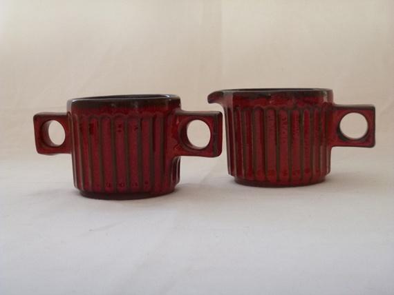 Vintage Jacques Garnier Ceramic Cream an Sugar Set .