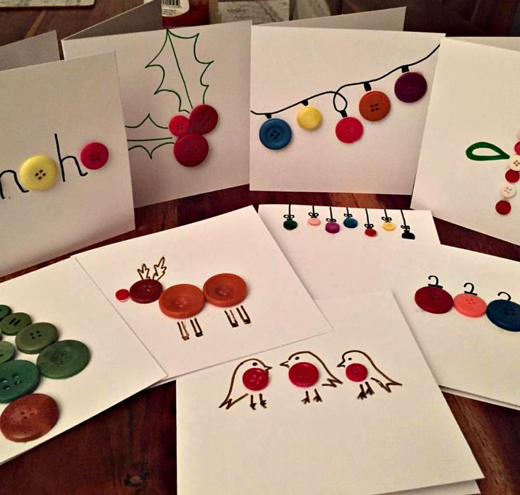 upcycle christmas ideas include this christmas card craft idea to make with leftover buttons. Get more reuse ideas over on the blog