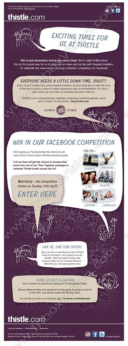 Company:  Thistle Hotels  Subject:  Win a Time Together Package with our Facebook Competition