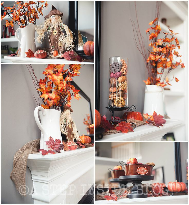 Fall decorating, fireplace mantel. Strips of burlap & leaves in pitcher