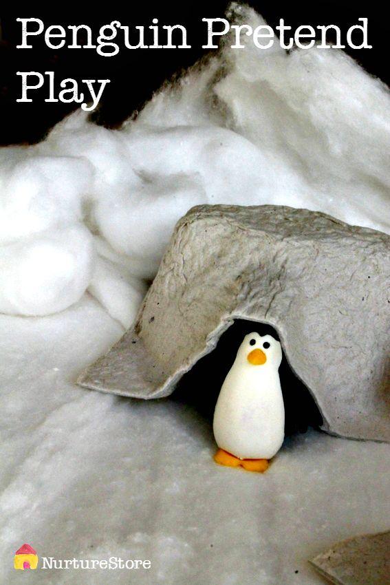 Penguin pretend play - great winter sensory play idea