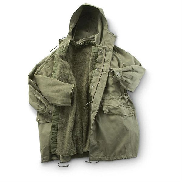Used French Military Surplus S300 Insulated Parka, Olive Drab -... ❤ liked on Polyvore featuring outerwear, coats, jackets, tops, green parka, green coat, green military coat, parka coat and military style coat