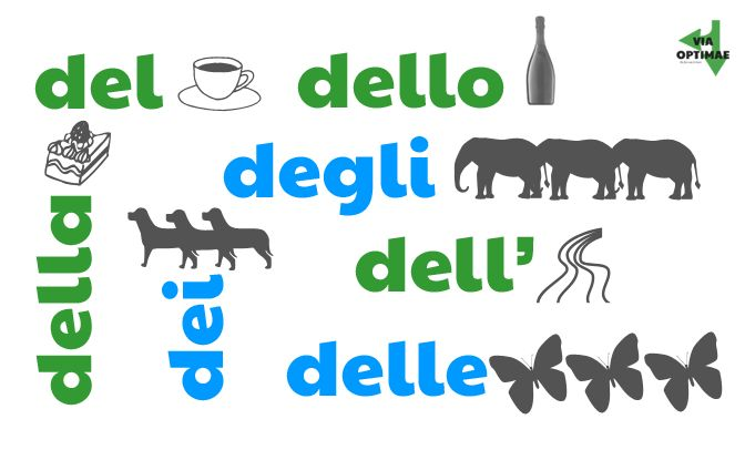 Partitive articles, illustrated; del, dell' dell, dei, degli, della, delle, lesson & workbook from Via Optimae, http://www.viaoptimae.com/20...